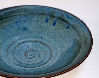Blue Pottery Serving Bowl with Chattered Texture and Pedestal Style Foot
