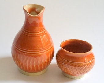 Orange Bedside Carafe and Cup with Chattered Texturing -  Wheel Thrown Pottery