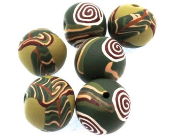 Round Polymer Clay Beads , Bead Set, Earthy Beads, 6 Pieces
