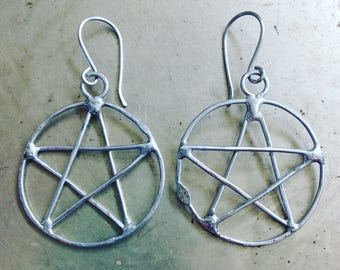 Rustic Pentacle Earrings Wiccan Jewelry