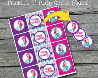 "Mermaid Party Cupcake Toppers | Mermaid Printable 2"" circles | Digital Download | Printable Party Ideas | Cupcake Cake Decorations |"