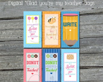 Printable Teacher Tags | Digital Thank You Tags | Teacher Gift | Welcome | Teacher Appreciation | Digital Download | Instant Download