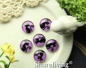 SALE - 30% OFF Glass Cabochon, 8mm 10mm 12mm 14mm 16mm 20mm 25mm 30mm Round Handmade photo glass Cabochons  (Halloween) - BCH228B
