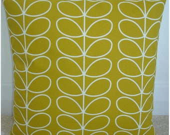 "18x18 Pillow Cover Orla Kiely Linear Stem Leaves Dandelion 18"" Accent Decorative Throw Cushion Case Sham Slip Retro Ochre Vintage Leaf Look"