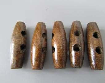 Wooden Toggle Buttons X 5