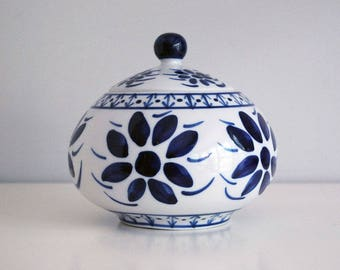 Vintage Porcelain Dish, Blue White China, Brazilian Covered Bowl, Monte Siao, Ceramic Serving Dish, Hand Painted Flowers, Country Kitchen