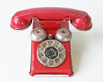 Vintage Toy Phone, Red Phone, Gong Bell Manufacturing Co, Tin Toy Phone