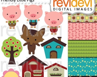50% OFF SALE Clipart Friendly Little Pigs - digital images, instant download, commercial use