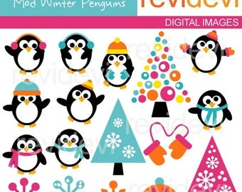 35% OFF SALE Winter penguins clipart - cut epenguin, snowflakes, trees clipart - digital images - instant download