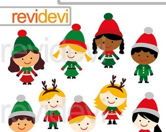 35% OFF SALE Christmas clipart, cute multi racial children, christmas clip art, commercial use, christmas friends