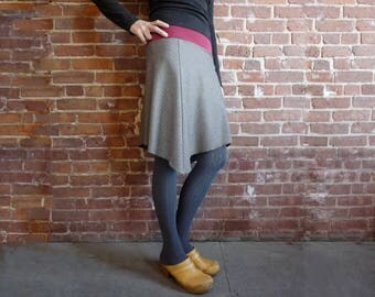 Women's Skirt, Pinstripe Wool, Gray, Dusty Cranberry, Organic Bamboo, Asymmetrical, A Line Skirt, Winter Style, Office, Gift for Her, Casual