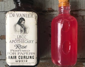 1912 Perfumed Rose Hair Curling Liquid For Papers Curl Paper Rag Curl Natural Hairspray Historical Curl Set Titanic Hairstyle Edwardian Hair