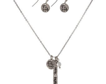 University of Louisiana Charm Necklace and Earrings Set, Silvertone
