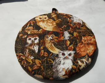 Owl Quilted Pot Holders, Hot Pads, Potholders, Trivet, Round Cotton, Double Insulated, Handmade, 9 Inches