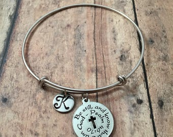 Be Still And Know initial bangle - bible verse bracelet, church bracelet, religious jewelry, silver bible verse bangle, Christian jewelry