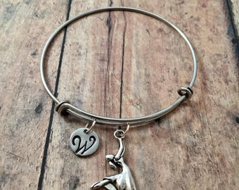 Dancer initial bangle - dancer jewelry, gift for ballerina, dance recital jewelry, gift for dancer, ballet bracelet, silver ballet bangle