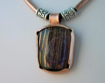 Dichroic glass and Copper necklace - copper jewelry -  metalwork jewelry - dichroic glass necklace
