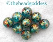 Wholesale Beautiful Japanese Tensha Beads CLEMATIS AQUA 12mm-9 pieces