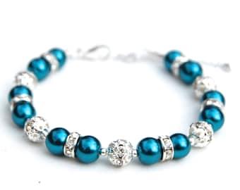 Teal Jewelry, Teal Pearl Bracelet, Teal Wedding, Beach Wedding, Bridesmaid Jewelry, Bridesmaid Gifts, Summer Wedding