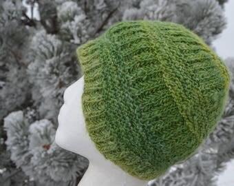 Handspun Handknit Beanie in Dorset Wool & Nylon - Green Knit Twotrack Hat in Wool Blend Handspun Yarn. Unique Winter Hat Fall Fashion Unisex