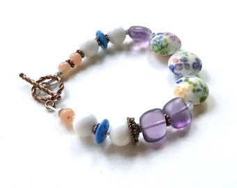 Purple and White Floral Lampwork Boho Beaded Bracelet with Copper, for Her Under 125  US Free Shipping Free Gift Wrap