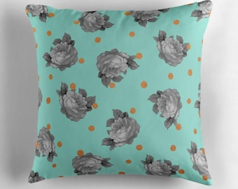 decorative pillow- flower pattern and gold dots-roses-gray and mint-pretty mint floral patterned pillow-home decor-bedroom decor