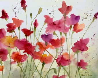 Art flower print/ready to frame/from watercolor original/garden poppies/field of poppies/lush pinks,reds, and orange colors watercolor print