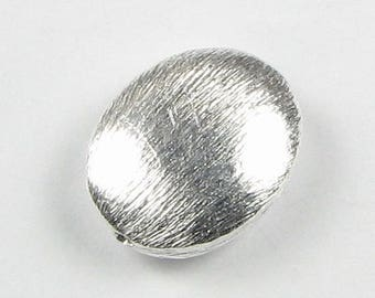SHOP SALE Large 15mm Brushed Sterling Silver Flat Oval Focal Bead (1 piece)