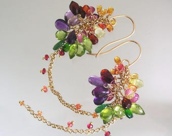 Chakra Gemstone Long Cluster Earrings, 14k Gold Filled Tassels, Elegant Earrings with Sapphire, Amethyst, Garnet, Peridot, Tsavorite