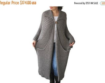 20% WINTER SALE NEW! Hand Knitted Maxi Coat Cardigan with Big Pockets Tweed Brown - Ecru Blended Color Plus Size Over Size