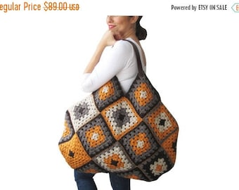 20% WINTER SALE Chunky Granny Sguare Afghan Colorful Croched Handbag With Leader Handles - Orange Brown Ecru by AFRA