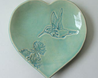 Ceramic Heart Plate, Six inch x Six inch, Hummingbird with flower, Hand Built, Hand Painted