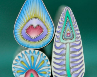 Set of 3 Polymer Clay Canes -'Summer Sunrise' series (44cc)