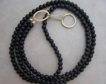 lanyard black obsidian gold badge ID holder
