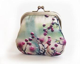 Red berry coin & card purse, Rowan Hawthorn berries pouch