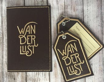 Passport Cover Luggage Tag Set- Wanderlust travel gift - Faux leather Holder - Passport Case Accessory - Graduation Wedding Adventurer