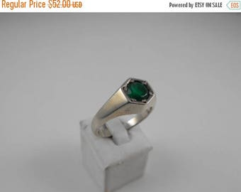 Memorial Day Sale Green Quartz Stone Sterling Silver Graduated Band Ring