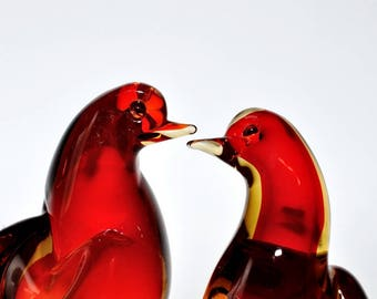 Vintage Murano Glass Sommerso Ruby Red Yellow Orange Amberina Love Birds Sculpture