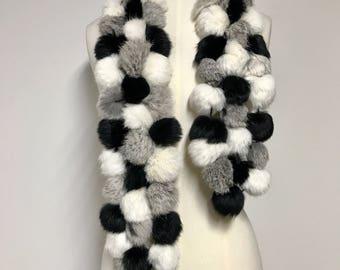 Vintage Black, Brown, White Rabbit Fur Scarf/FREE SHIPPING