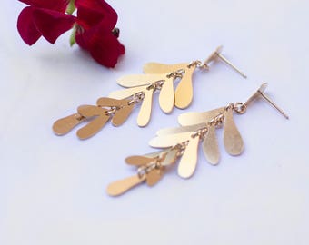 Golden Leafs  Dangle Earrings, Gold Leafs Earrings,Chandelier Earrings, Gift for her