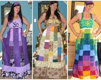 Patchwork Dress,Hippie Spinner Dress,Festival Dress,Grateful sun dress,dancing bear dress,Steal your face,custom