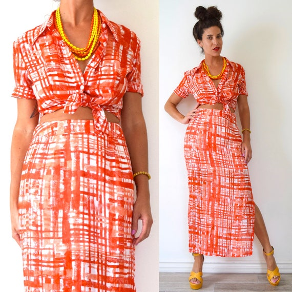 SUMMER SALE/ 30% off Vintage 90s BCBG Orange and White Abstract Plaid Blouse and Maxi Skirt 2 Piece Set (size small, medium)