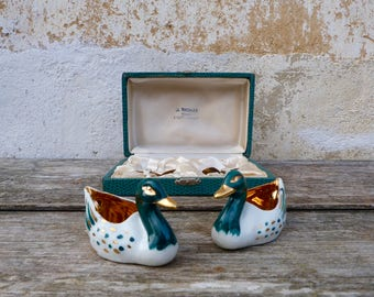 Vintage  French Limoges gilt Ducks salt & pepper set /cruet