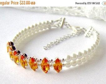 SALE Topaz rhinestone and white pearl double strand bracelet / Mothers day gift / November birthstone / yellow rhinestone bracelet / gift fo