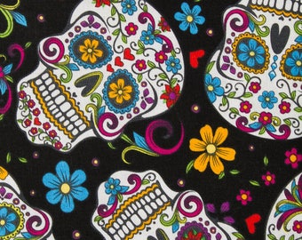 Sugar Skulls, David Textiles, Folkloric Skulls in Black, Floral, Sugar Skulls, Cotton Fabric - YARD