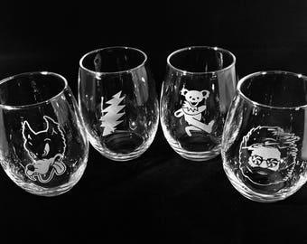 Grateful Dead Wine Glass Etched Stemless Set of Four Glasses Sandblasted
