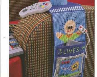 Video Gamester, Plastic Canvas Pattern, Annie's International, Plastic Canvas Club, PLCX415-04, Game Room Decor, TV Watching,Chair Accessory