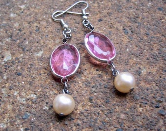Eco-Friendly, Unique, Dangle Earrings - Love Potion - Recycled Vintage Bezel-Set Rose Pink Plastic Crystals and Creamy White Glass Pearls