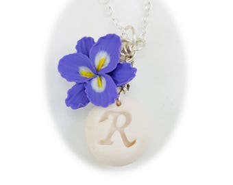 Personalized Purple Freesia Initial Necklace - Freesia Jewelry Collection