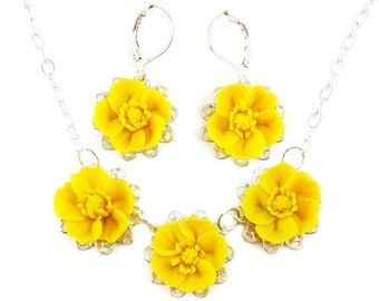 Buttercup Jewelry Set - Trio Buttercup Jewelry, Yellow Buttercup Wedding Jewelry, Yellow Buttercups